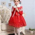 Cute Dresses Winter Flower Girls Bowknot Embroidery Wedding Party Dress - Red