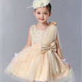 Cute Dresses Winter Flower Girls Diamonds Knee Length Bowknot Wedding Party Dress - Beige