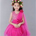 Cute Dresses Winter Flower Girls Diamonds Knee Length Bowknot Wedding Party Dress - Rose