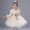 Cute Dresses Winter Flower Girls Flare Sleeve Bowknot Wedding Party Dress - Beige