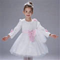 Cute Dresses Winter Flower Girls Flare Sleeve Bowknot Wedding Party Dress - White