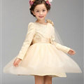 Cute Dresses Winter Flower Girls Knee Length Bowknot Wedding Party Dress - Beige