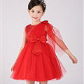 Cute Dresses Winter Flower Girls Knee Length Bowknot Wedding Party Dress - Red