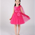 Cute Dresses Winter Flower Girls Knee Length Bowknot Wedding Party Dress - Rose