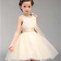 Cute Dresses Winter Flower Girls Knee Length Bowknot Wedding Party Dress - White