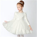 Cute Dresses Winter Flower Girls Knee Length Embroidery Wedding Party Dress - White