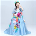 Cute Dresses Winter Flower Girls Long Embroidery Cotton Wedding Party Dress - Dark Blue