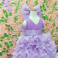 Cute Dresses Winter Flower Girls Ruffled Floor Length Wedding Party Dress - Purple