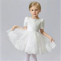 Cute Dresses Winter Flower Girls Short Sleeve Embroidery Wedding Party Dress - White