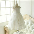 Cute Dresses Winter Flower Girls Sleeveless Embroidery Wedding Party Dress - White