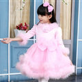 Cute Dresses Winter Flower Girls Velvlet Knee Length Bowknot Wedding Party Dress - Pink