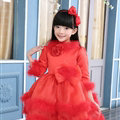 Cute Dresses Winter Flower Girls Velvlet Knee Length Bowknot Wedding Party Dress - Red