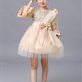 Cute Skirts Winter Flower Girls Diamonds Knee Length Bowknot Wedding Party Dress - Beige