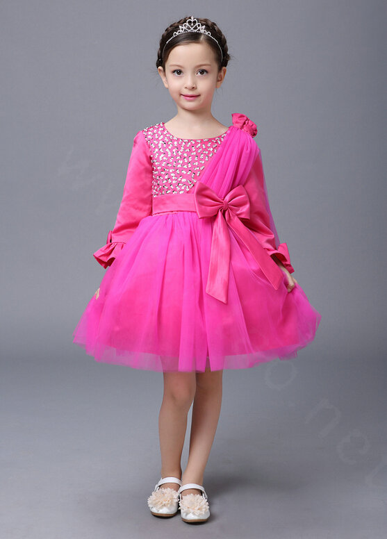 NAME Cute Skirts Winter Flower Girls Diamonds Knee Length Bowknot Wedding  Party Dress - Rose 55661de8d