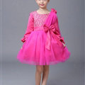 Cute Skirts Winter Flower Girls Diamonds Knee Length Bowknot Wedding Party Dress - Rose