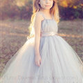 Cute Skirts Winter Flower Girls Long Suspenders Wedding Party Dress - Grey