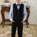 Cute Winter Flower Boys Suit Clothes Wedding Party Dress - Black Blue