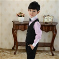 Cute Winter Flower Boys Suit Clothes Wedding Party Dress - Black Pink