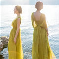 Dresses Summer Backless Women Tunic Elbow Sleeve Solid Beach Long Chiffon - Green