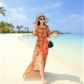 Dresses Summer Girls Fifth Sleeved Split Printed Beach Long Bohemian - Orange