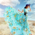 Dresses Summer Girls Short Sleeved Tunic Printed Beach Long Bohemian - Blue