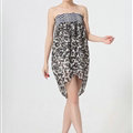 Dresses Summer Women Backless Leopard Print Short Chiffon Fringe - Blue