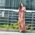 Dresses Summer Women Bohemian Beach Long Chiffon Leopard Print - Red