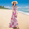 Dresses Summer Women Bohemian Printed Beach Long Chiffon Sundresses - Purple