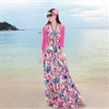 Dresses Summer Women Bohemian Printed Beach Long Chiffon Sundresses - Rose