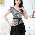 Dresses Summer Women Bowknot Leopard Print Ruffle Silk Plus Size - White Black
