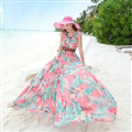 Dresses Summer Women Large Pendulum Printed Beach Long Chiffon Bohemian - Blue Pink