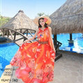 Dresses Summer Women Large Pendulum Printed Beach Long Chiffon Bohemian - Red