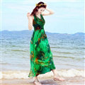 Dresses Summer Women Large Pendulum Printed Beach Long Tunic Bohemian - Green