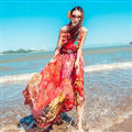 Dresses Summer Women Tunic Large Pendulum Printed Beach Long Tunic Bohemian - Red