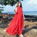 Dresses Summer Women Tunic Large Pendulum Solid Beach Long Tunic Bohemian - Red