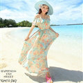 Elegant Dresses Summer Girls Oblique Beach Long Chiffon Bohemian - Light Blue