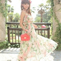 Elegant Dresses Summer Girls Oblique Beach Long Chiffon Bohemian - Pink