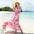 Elegant Dresses Summer Girls Oblique Beach Long Chiffon Bohemian - Rose