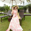Elegant Dresses Summer Women Floral Strapless Beach Bohemian Long Chiffon - Pink White