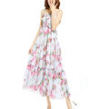 Elegant Dresses Summer Women V-Neck Printed Beach Long Chiffon Bohemian - Pink White