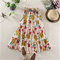 Fation Dresses Summer Girls Floral Bohemian Coast Semi Long Printed - Pink