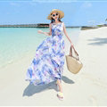 Fation Dresses Summer Girls Printed Bohemian Coast Chiffon Long - Blue