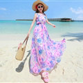 Fation Dresses Summer Girls Printed Bohemian Coast Chiffon Long - Pink