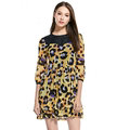 Gorgeous Dresses Fall Women Elbow-Length Sleeve Ruffle Leopard Print - Yellow