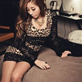 Sheath Dresses Fall Girls Long Sleeve Leopard Print Plus Size - Black Brown