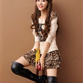 Sweet Dresses Fall Women Long Sleeve Stitching Ruffle Leopard Print - Beige