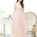 Sweet Dresses Summer Female Skirts Lantern Sleeve Long Chiffon Solid - Pink