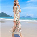 Sweet Dresses Summer Girls Affordable Flower Bohemian Coast Chiffon Long - Pink
