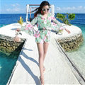 Sweet Dresses Summer Girls Floral Bohemian Coast Long Sleeve Chiffon Short - Blue