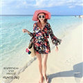 Sweet Dresses Summer Girls Floral Bohemian Coast Long Sleeve Chiffon Short - Navy Blue